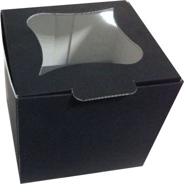 Cutii CupCakes cu display 8x8x8 cm Negre Soft Touch + suport interior alb